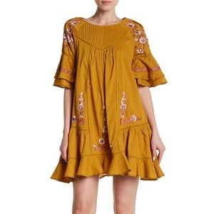 Free People Pavlo Embroidered Ruffle Shift Dress
